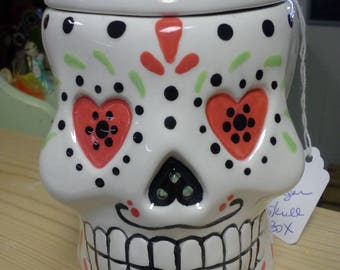 Ceramic Sugar Skull/Day of the Dead Box Unfinished or Finished (see Options and Descriprion)