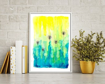 "SALE! atercolor Flowers Abstract Dandelions   24""x34"""