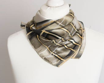 "vintage Square scarf, polyester scarf, fabric women scarf shawl 50cm / 20"" geometric scarf black beige brown plaid scarf"