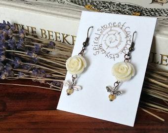 Honey Bee Earrings   Bee Earrings, Bee Lover Gift, Beekeeping, Nature Lover Gift, Bee Jewelry, Save The Bees, Bee Art, Nature Jewelry, Bees