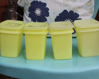 1960's Vintage Tupperware # 1243 Shelf Saver Containers with Lids / Seals # 1244 - Set of 4 - Excellent Condition