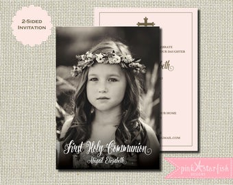 First Communion Invitation, Girl First Communion Invitation, Communion Invitation, 1st Communion Invitation, Girl Communion Invitation