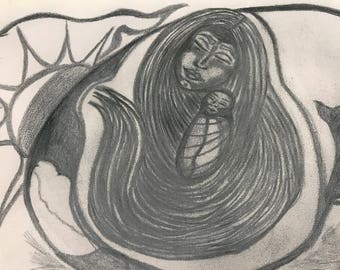 Fine Art Print, 20x25cm, Charcoal: Mother Hearth and the Seed