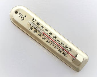 "TCA Tru-Temp Tin Thermometer Advertising Vintage Company History Off White 7"""