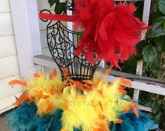 Rooster feather tutu, hawaiian chicken outfit, rooster chicken outfit, feather tutu, girls tutu, halloween photo prop, baby photo prop,
