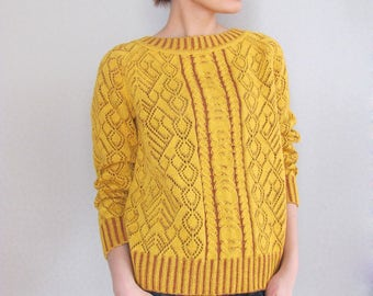 Long raglan sleeves sweater Knit sweater Yellow pullover Cable knit sweater Wool sweater Spring sweater Loose pullover Lace aran sweater