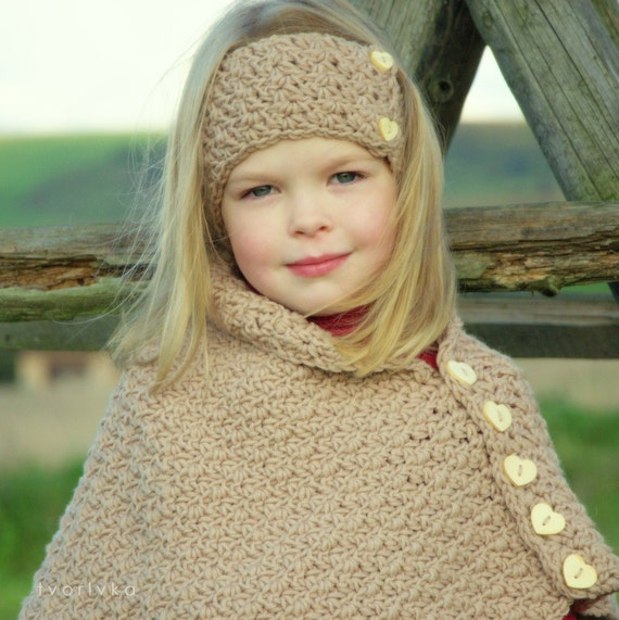 Items similar to INDIAN SUMMER set - poncho, wrap, cape and headband ...