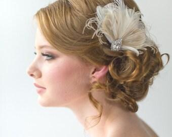 Wedding Fascinator, Bridal Head Piece, Feather Fascinator, Wedding Hair Accessory