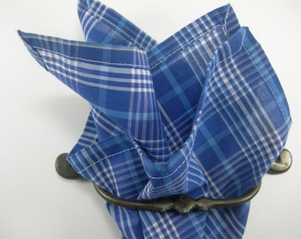Cotton pocket square blue, light blue and white