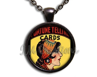 Fortune Teller Vintage Glass Dome Pendant or with Chain Link Necklace SM158