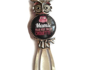 """Bookmark paper clip """"OWL""""/Mamie/""""Grandma she is too cool"""" / Wonderland faby/gift/party / thanks"""