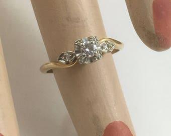 Beautiful Genuine Art Deco 14K Yellow and 18K White Gold and Diamond Engagement Ring