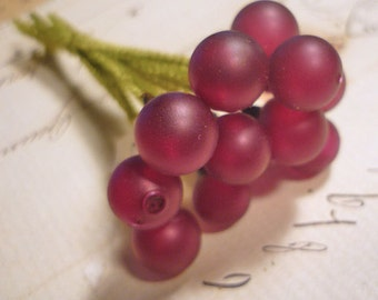 Vintage Millinery Glass Berries with Chenille Stems