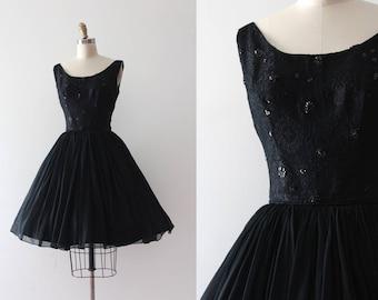 vintage 1950s dress // 50s 60s black party dress