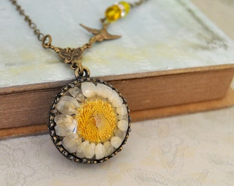 antique brass flower necklace, real flower necklace THE WILDFLOWER real daisy flower necklace
