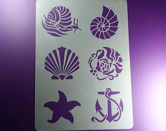 Stencil snail shell Starfish anchor Maritim-BA38