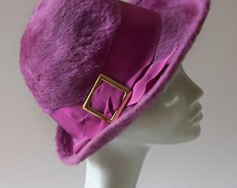 Vintage Mod Purple Trilby Hat Jacoll England