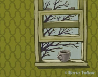 Coffee at the Windowsill 11x14 Matted and Signed Print
