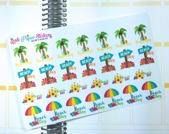 Beach Day! set of 27 decorative stickers for your Erin Condren, Happy planner, inkwell press, filofax, kikki k, or other calendar or planner