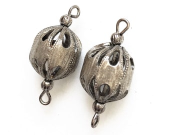 vintage salvaged brutalist silver tone metal pierced design hollow connector beads--matching lot of 2