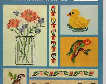 Iron On Transfers for Cross Stitch Butterflies, Birds & Flowers -- CS1