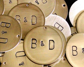 Hand Stamped Metal Monogram Charms -- Wedding Decorations -- Wedding Favors