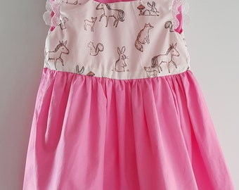 Woodland and Candy Pink Girls Dress