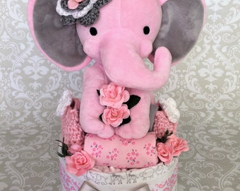 Baby Girl one tier Blanket Diaper Cake - an adorable baby shower gift, made to order