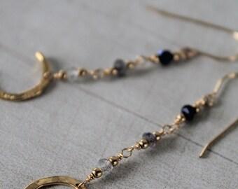 Gold crescent moon earrings, long gemstone earrings, lunar jewellery, 14k gold fill, labradorite hook earrings, black spinel sapphire iolite