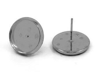 10 blank cabochon (12mm) 14mm GUNMETAL earrings