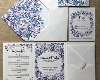 Purple Floral Wedding Invitation Folder (Pocketfold) with Matching RSVP