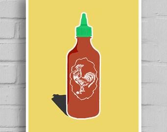 Sriracha, Sriracha Art, Sriracha Print, Rooster Sauce, Hot Chicken, Canvas Art, Printable