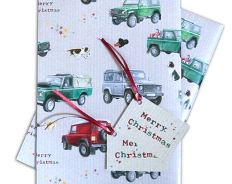 Christmas Land Rover Defender gift wrapping, 2 sheets with matching gift tags