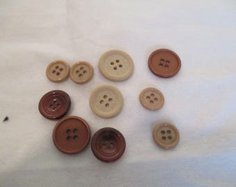 set of 10 Brown buttons