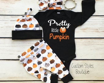 Baby Girls First Halloween Outfit, Pretty Little Pumpkin, Leggings,Hat and Headband With Pumpkins,Baby Girls First Halloween Outfit Set