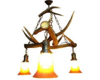 Chalet chandelier etsy hanging antler chandelier aloadofball Gallery