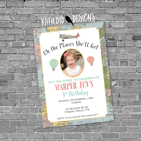 adventure awaits hot air balloon travel theme birthday invitation baby shower picture oh the places you'll go miss to mrs | 20012 Katiedid