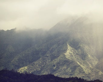 "Kauai Hawaii Mountain Print, Landscape Photography, Hanalei Valley Fog, Nature, Fine Art Photography, ""Mountain Time"""