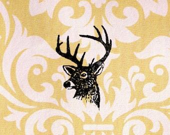 Deer Head Stamp: Wood Mounted Rubber Stamp