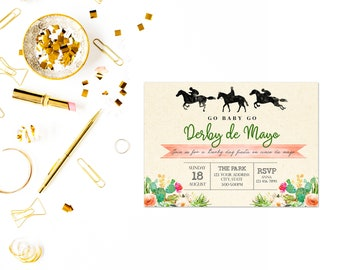 Derby de mayo invitation,Cinco de Mayo Kentucky Derby Invitation, Editable, Printable, Derby de Mayo Party Invite