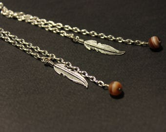 Long dangling chain earrings with feather charm and Madagascar agate