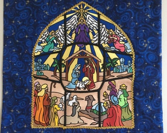 Embroidered Stained Glass Nativity Wall Hanging