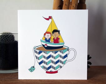 Boat Greeting Card Notecard Valentine's Day Anniversary