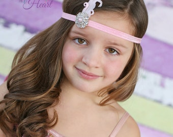 Feather Headband - Pink Feather Headband - Gatsby Headband - Rhinestone Headband - Girls Headband - Prom Headband - Gatsby Feather Headband