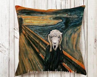 The Scream, Art Pillow, Sheep, Lamb, Funny Animals, Fun Fine Art, Art lover gift, Cool Gift Idea, Munch, Whimsical Art, LOL Pillow