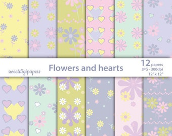 Flowers Digital paper, hearts scrapbook paper, floral background, Valentine's pattern, wedding paper