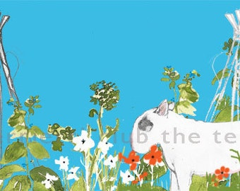 "Bull Terrier in Garden Print  ""Herbal Grazing"""
