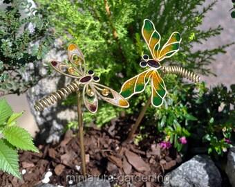 Wiggles, Sparkles Dragonfly Picks, 2 Piece Set for Miniature Garden, Fairy Garden
