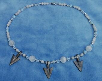 Moon Huntress Necklace - Selenite, moonstone, and opalite - artemis - selene - arrowhead