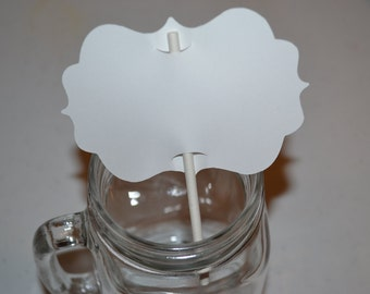 50 White Blank Cupcake Toppers with Cake Pop Sticks/Cupcake Toppers/Toppers with Cake Pop Sticks